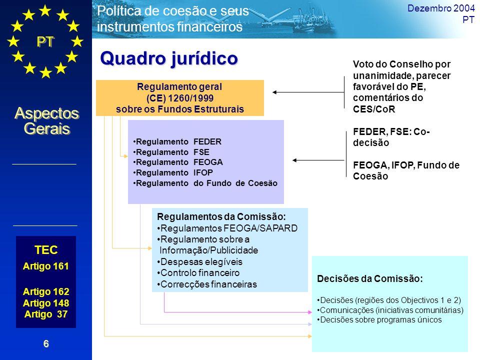 PT Aspectos Gerais Política de coesão e seus instrumentos financeiros Dezembro 2004 PT 6 TEC Artigo 161 Artigo 162 Artigo 148 Artigo 37 Regulamento ge