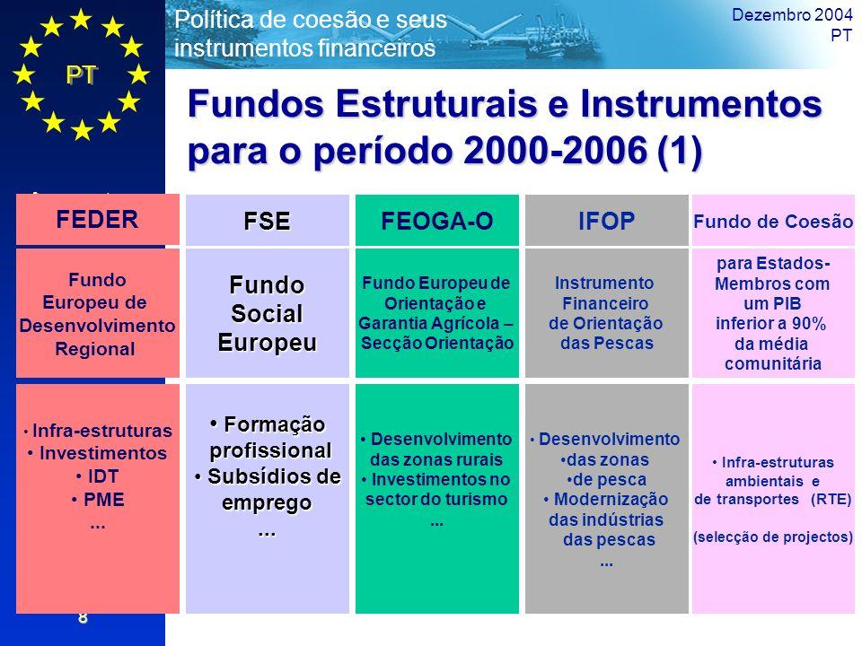PT Aspectos Gerais Política de coesão e seus instrumentos financeiros Dezembro 2004 PT 8 Fundos Estruturais e Instrumentos para o período 2000-2006 (1