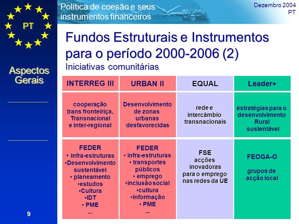 PT Aspectos Gerais Política de coesão e seus instrumentos financeiros Dezembro 2004 PT 9 Fundos Estruturais e Instrumentos para o período 2000-2006 (2