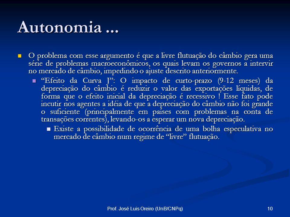 9Prof. José Luis Oreiro (UnB/CNPq) Autonomia... Alguns economistas afirmam que essa perda de autonomia não ocorreria no caso de um regime de câmbio fl