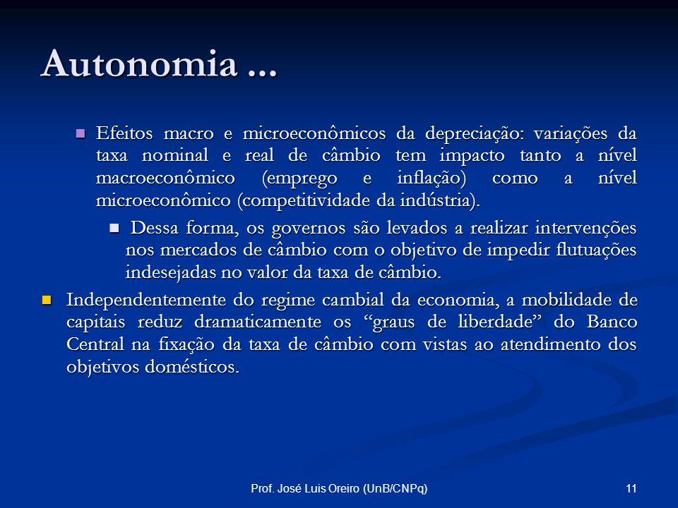 10Prof. José Luis Oreiro (UnB/CNPq) Autonomia... O problema com esse argumento é que a livre flutuação do câmbio gera uma série de problemas macroecon