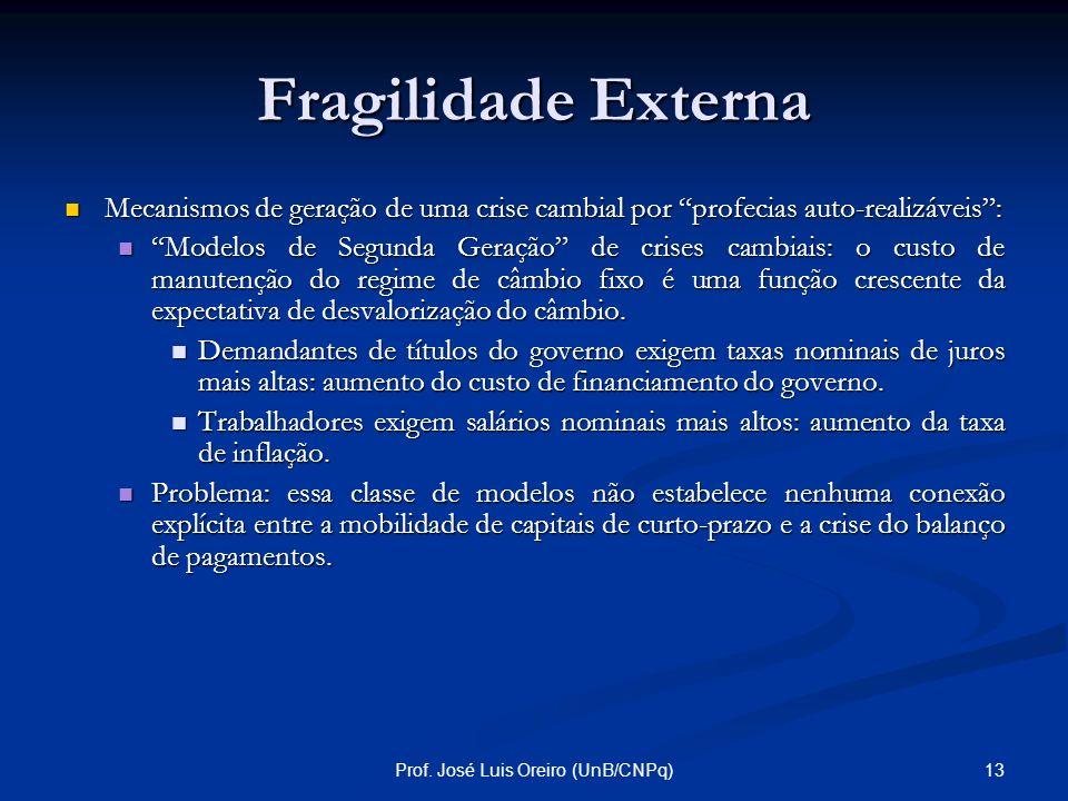 12Prof. José Luis Oreiro (UnB/CNPq) Fragilidade Externa Os fluxos de capitais de curto-prazo são extremamente voláteis no sentido de que mudanças no h