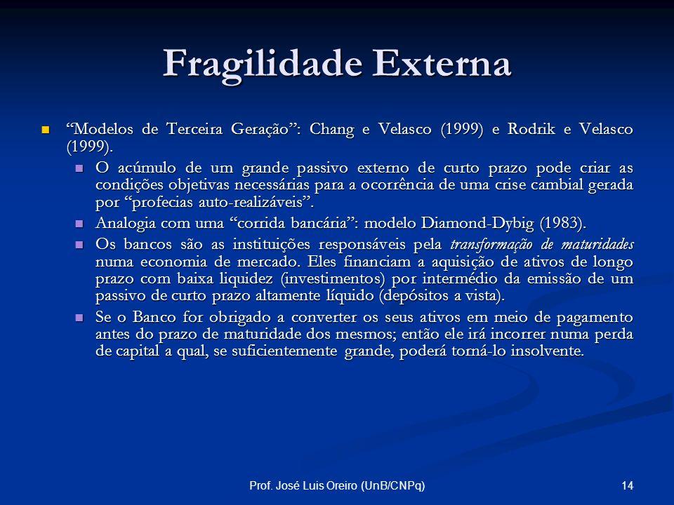 13Prof. José Luis Oreiro (UnB/CNPq) Fragilidade Externa Mecanismos de geração de uma crise cambial por profecias auto-realizáveis: Modelos de Segunda