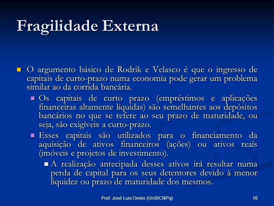 15Prof. José Luis Oreiro (UnB/CNPq) Fragilidade Externa No modelo Diamond e Dybig existem dois equilíbrios possíveis: No modelo Diamond e Dybig existe