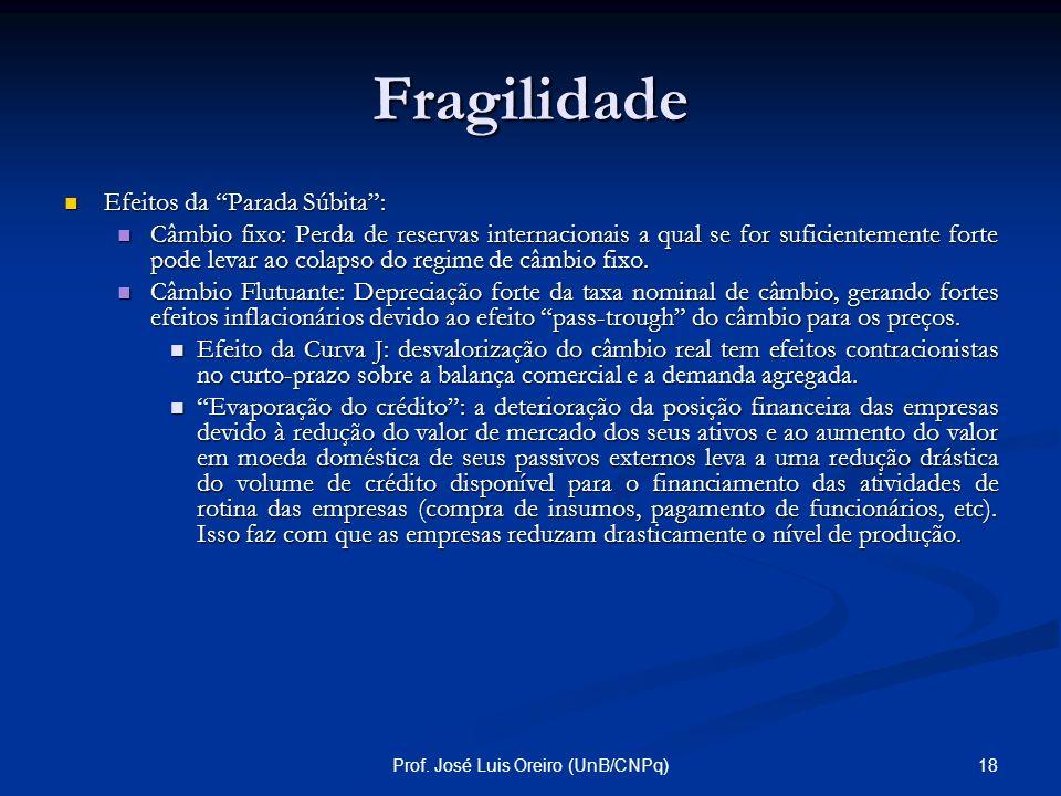 17Prof. José Luis Oreiro (UnB/CNPq) Fragilidade Tal como no caso da corrida bancária, a solvência dos tomadores de recursos de curto prazo depende das