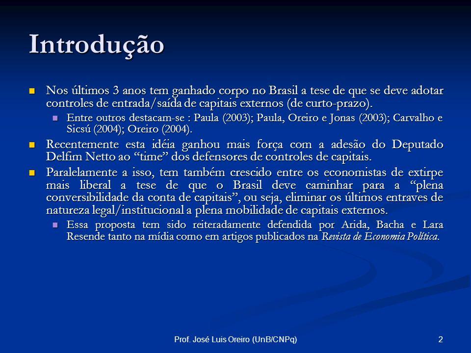 Controles de Capitais Teoria, Evidência e Proposta para o Brasil Prof. José Luís Oreiro Departamento de Economia – UnB Pesquisador Nível I do CNPq. ww