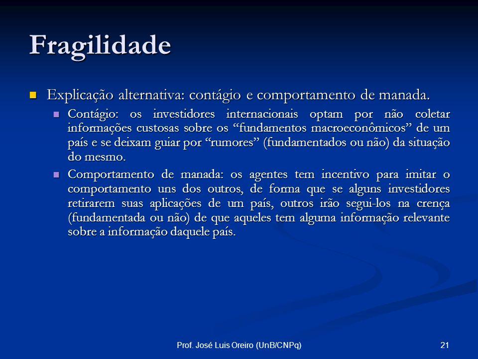 20Prof. José Luis Oreiro (UnB/CNPq) Fragilidade A ocorrência de uma parada súbita depende, contudo, da formação de uma convenção pessimista entre os i