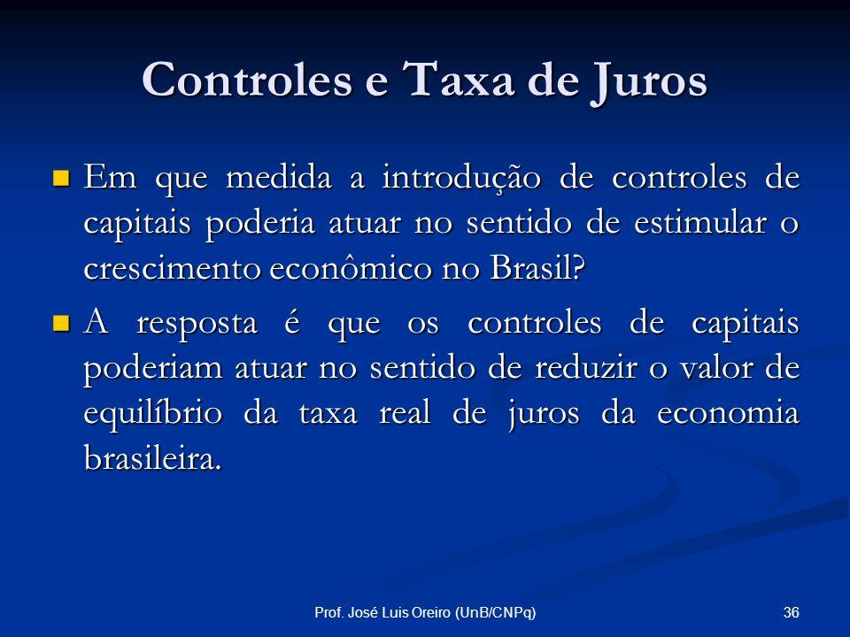 35Prof. José Luis Oreiro (UnB/CNPq) Crescimento... Os coeficientes para a expectativa de vida, a interação entre PIB e capital humano, o consumo do go