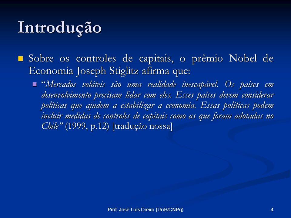 3Prof. José Luis Oreiro (UnB/CNPq) Introdução Observa-se que a discussão sobre os controles de capitais no Brasil tem sido feita, em geral, com um vié
