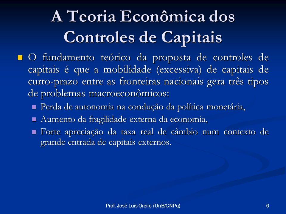 5Prof. José Luis Oreiro (UnB/CNPq) Introdução Na apresentação de hoje iremos discutir: Na apresentação de hoje iremos discutir: A teoria econômica dos