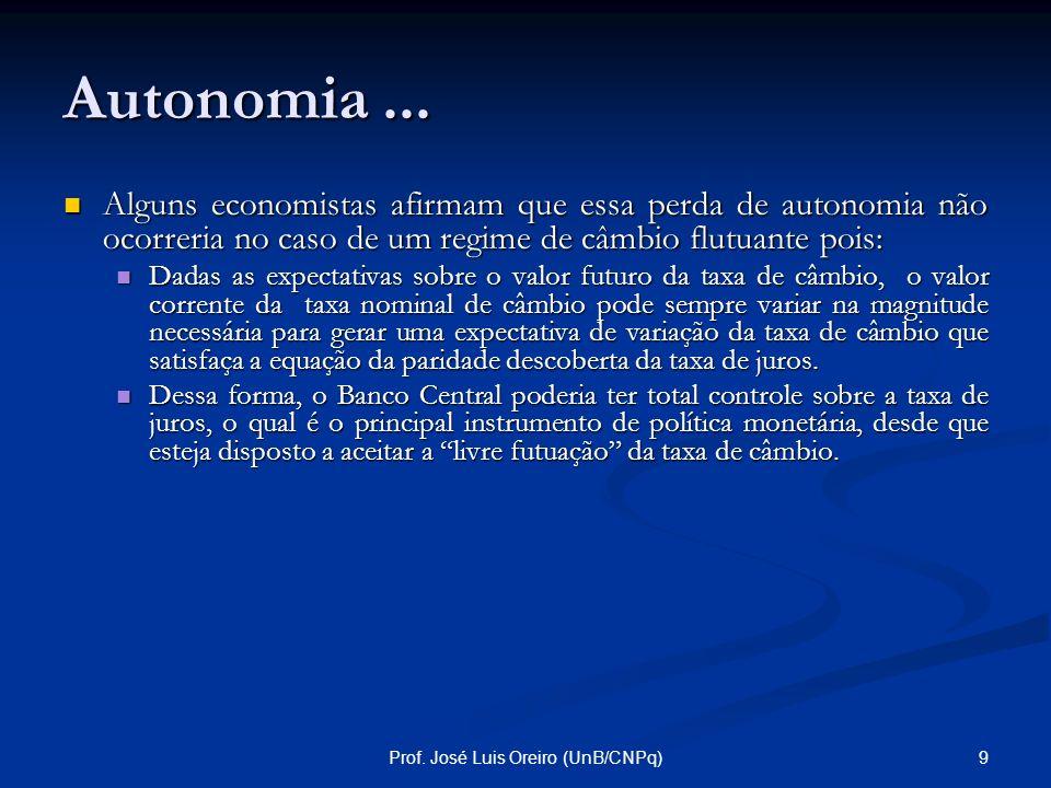 8Prof. José Luis Oreiro (UnB/CNPq) Autonomia... Em palavras: a taxa de juros doméstica deve ser igual a soma entre a taxa de juros internacional, o pr