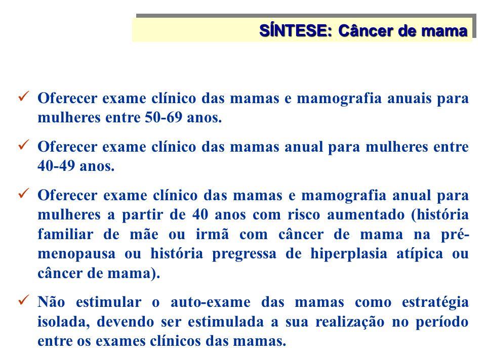 Oferecer exame clínico das mamas e mamografia anuais para mulheres entre 50-69 anos. Oferecer exame clínico das mamas anual para mulheres entre 40-49