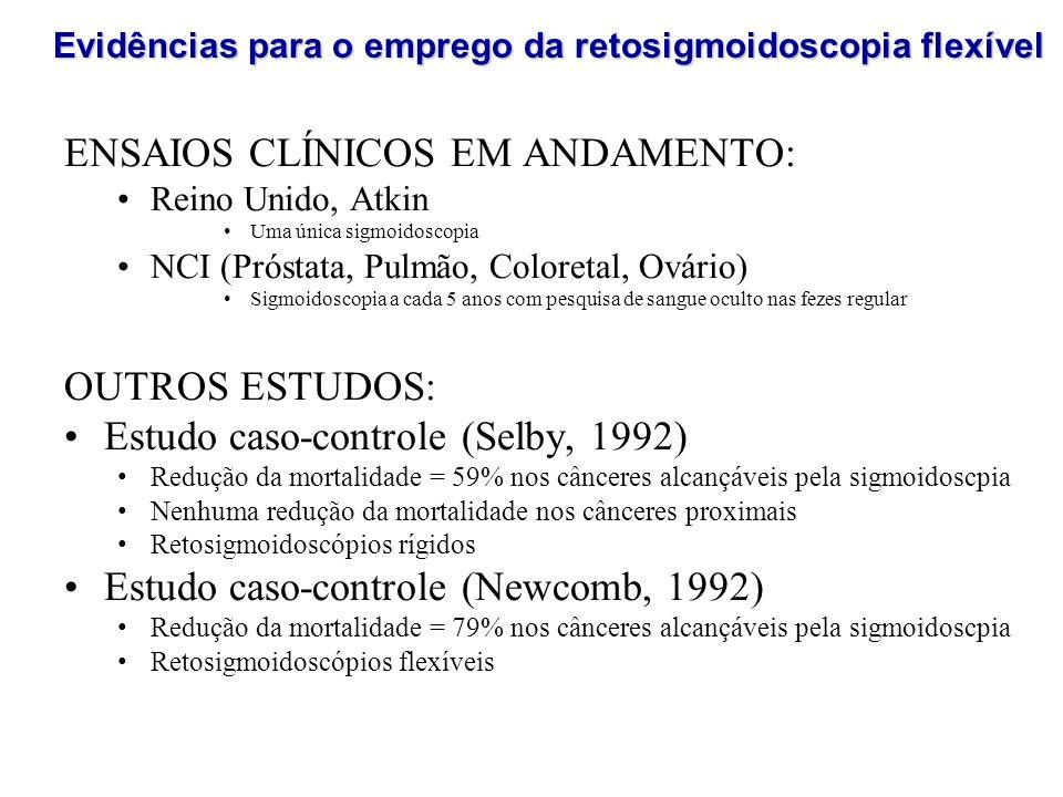 ENSAIOS CLÍNICOS EM ANDAMENTO: Reino Unido, Atkin Uma única sigmoidoscopia NCI (Próstata, Pulmão, Coloretal, Ovário) Sigmoidoscopia a cada 5 anos com