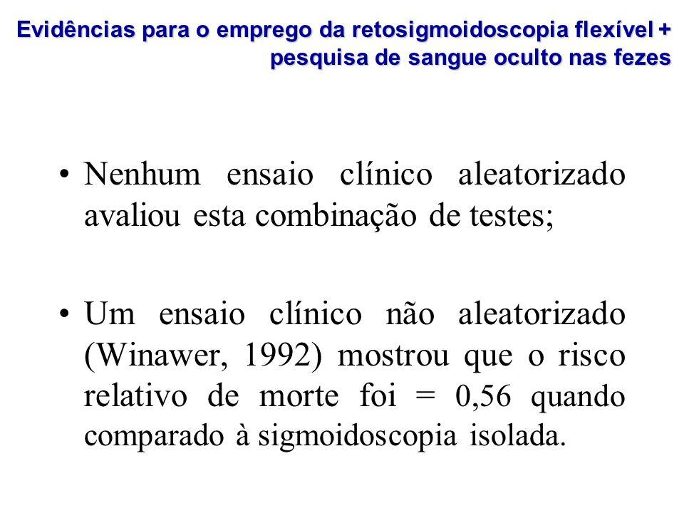 Nenhum ensaio clínico aleatorizado avaliou esta combinação de testes; Um ensaio clínico não aleatorizado (Winawer, 1992) mostrou que o risco relativo