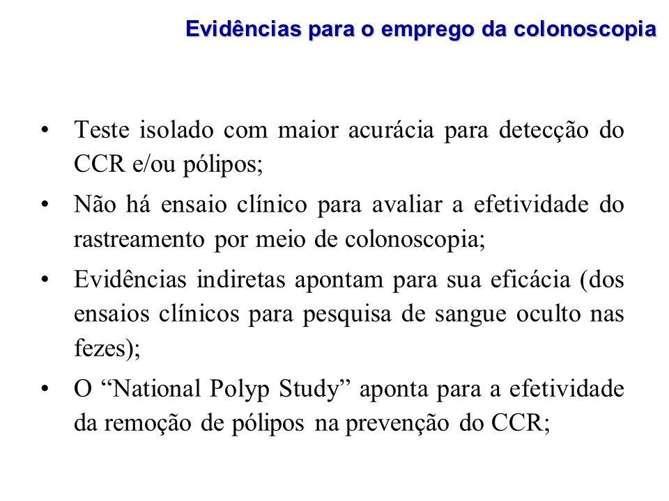Teste isolado com maior acurácia para detecção do CCR e/ou pólipos; Não há ensaio clínico para avaliar a efetividade do rastreamento por meio de colon