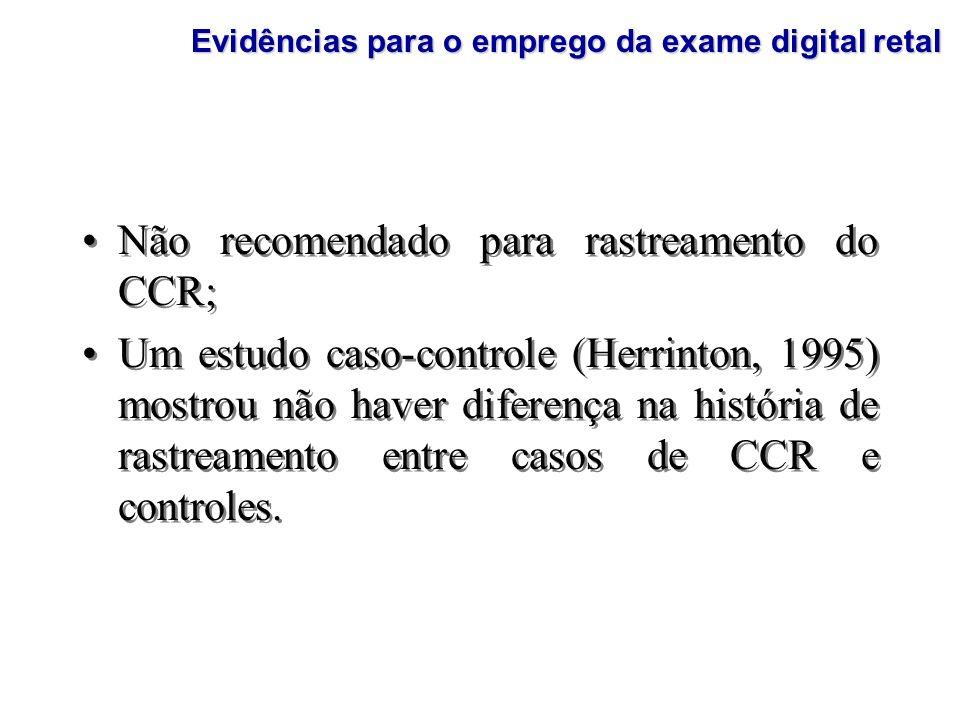 Não recomendado para rastreamento do CCR; Um estudo caso-controle (Herrinton, 1995) mostrou não haver diferença na história de rastreamento entre caso