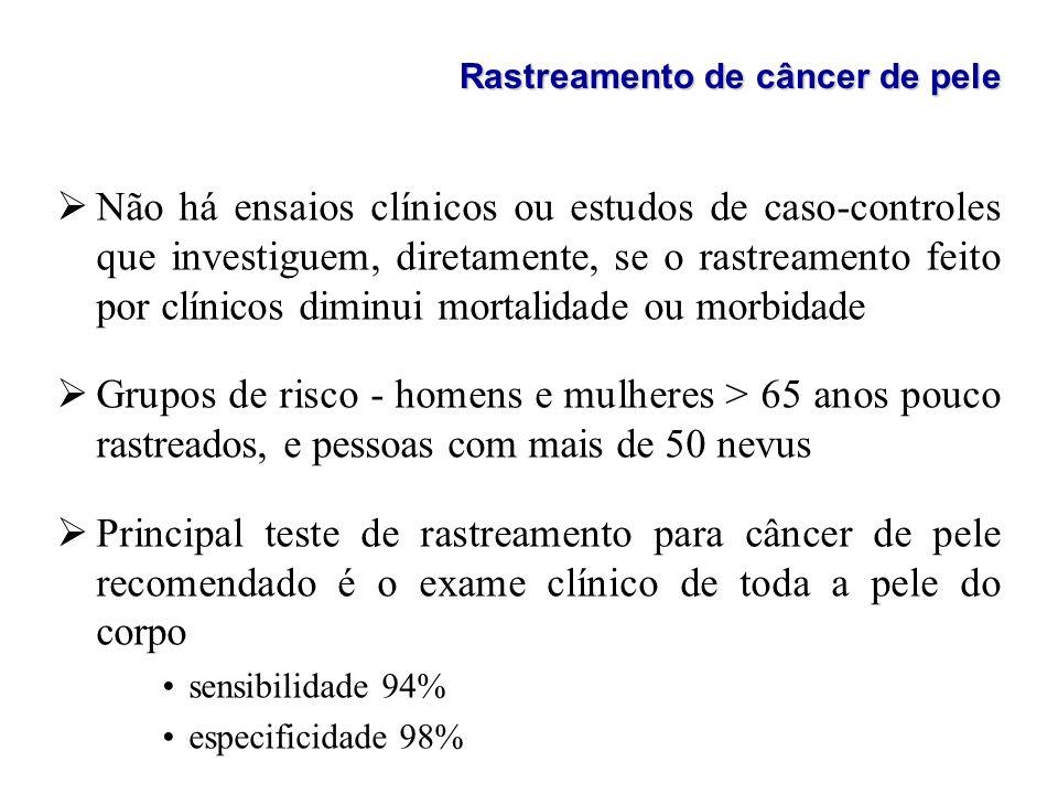 Rastreamento de câncer de pele ØNão há ensaios clínicos ou estudos de caso-controles que investiguem, diretamente, se o rastreamento feito por clínico