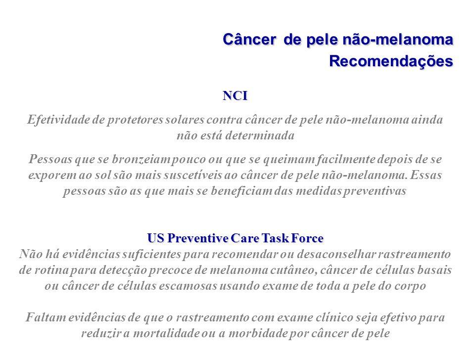 Câncerde pele não-melanoma Recomendações Câncer de pele não-melanoma Recomendações NCI Efetividade de protetores solares contra câncer de pele não-mel