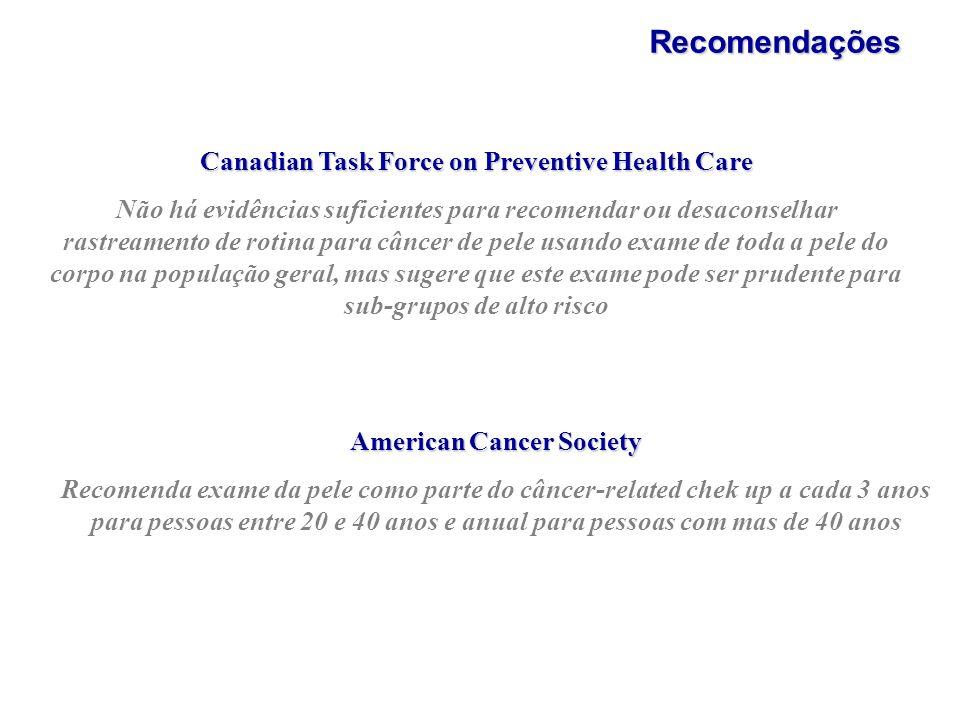 Recomendações Canadian Task Force on Preventive Health Care Não há evidências suficientes para recomendar ou desaconselhar rastreamento de rotina para