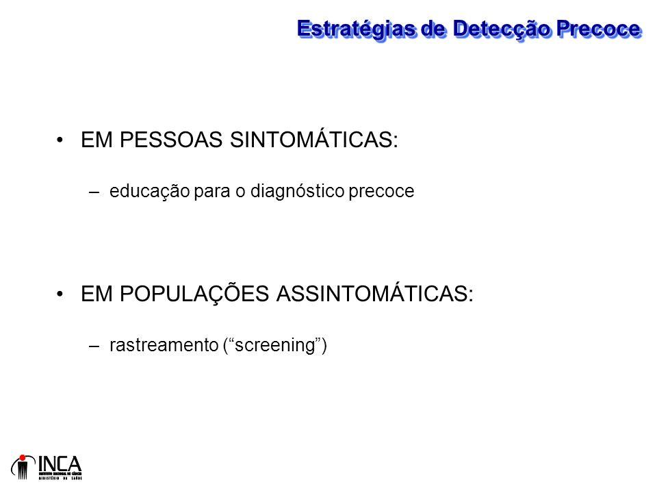 Estratégias de Detecção Precoce EM PESSOAS SINTOMÁTICAS: –educação para o diagnóstico precoce EM POPULAÇÕES ASSINTOMÁTICAS: –rastreamento (screening)
