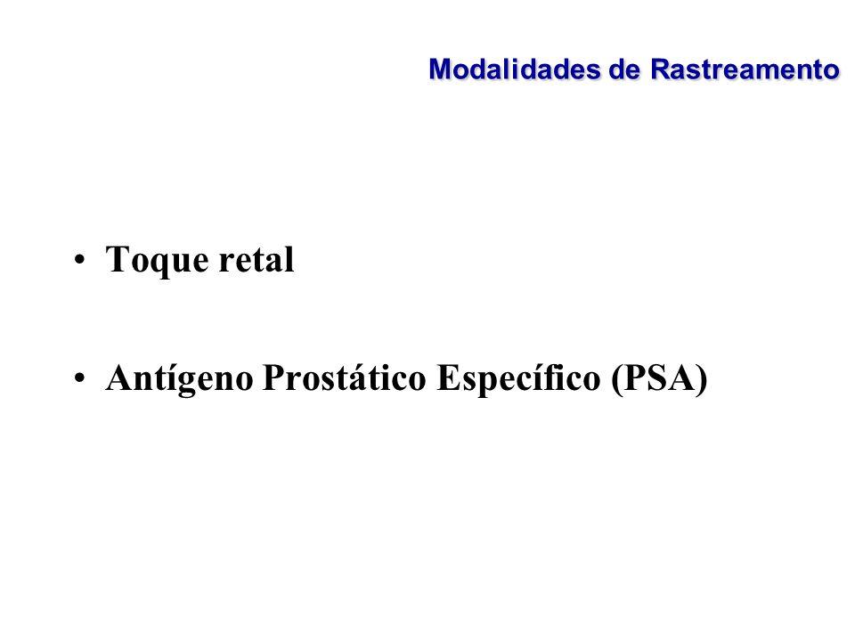 Toque retal Antígeno Prostático Específico (PSA) Modalidades de Rastreamento
