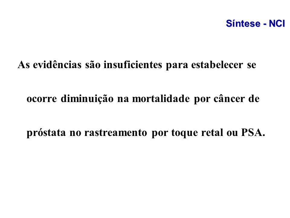 As evidências são insuficientes para estabelecer se ocorre diminuição na mortalidade por câncer de próstata no rastreamento por toque retal ou PSA. Sí