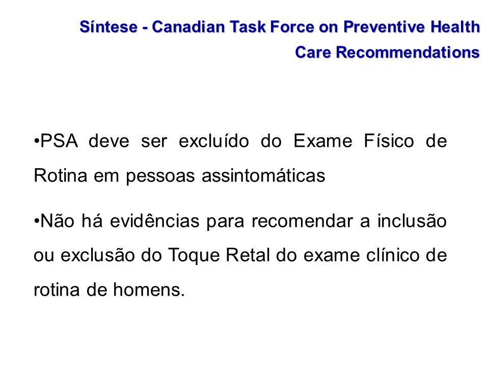 Síntese - Canadian Task Force on Preventive Health Care Recommendations PSA deve ser excluído do Exame Físico de Rotina em pessoas assintomáticas Não