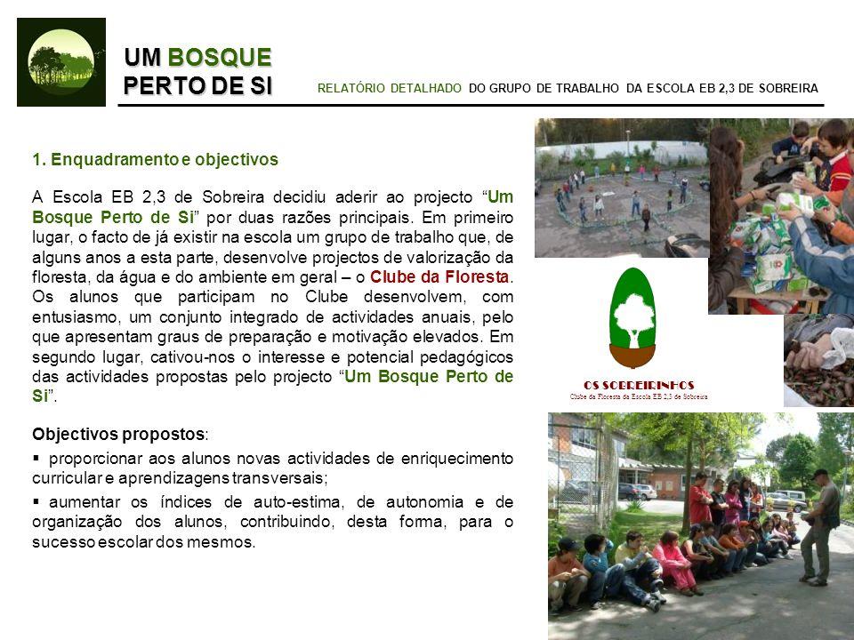 1. Enquadramento e objectivos A Escola EB 2,3 de Sobreira decidiu aderir ao projecto Um Bosque Perto de Si por duas razões principais. Em primeiro lug