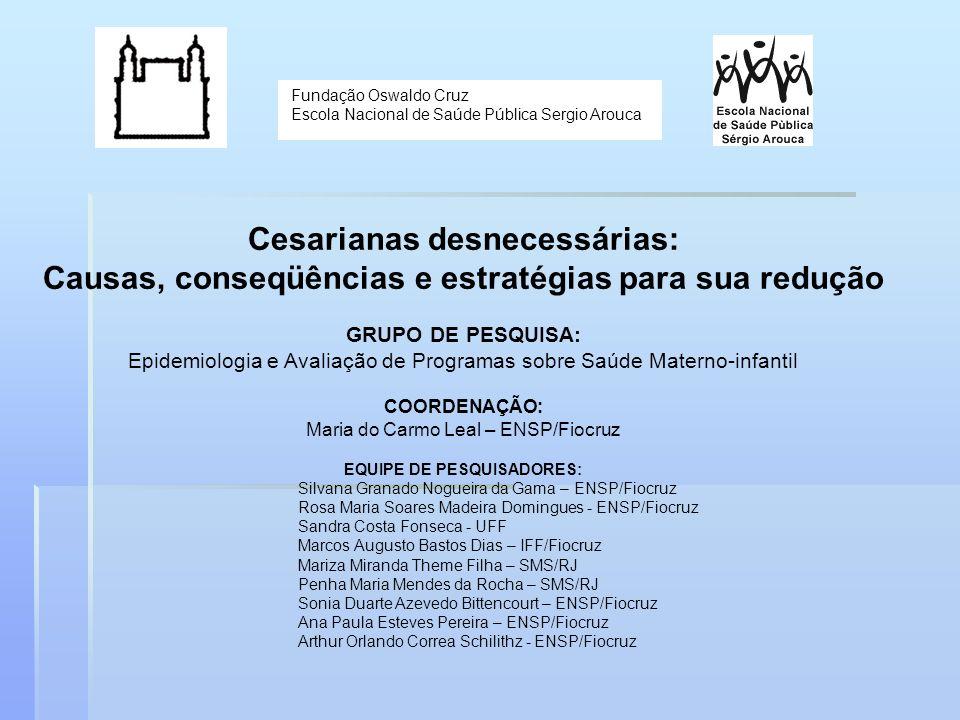 Fundação Oswaldo Cruz Escola Nacional de Saúde Pública Sergio Arouca Cesarianas desnecessárias: Causas, conseqüências e estratégias para sua redução G