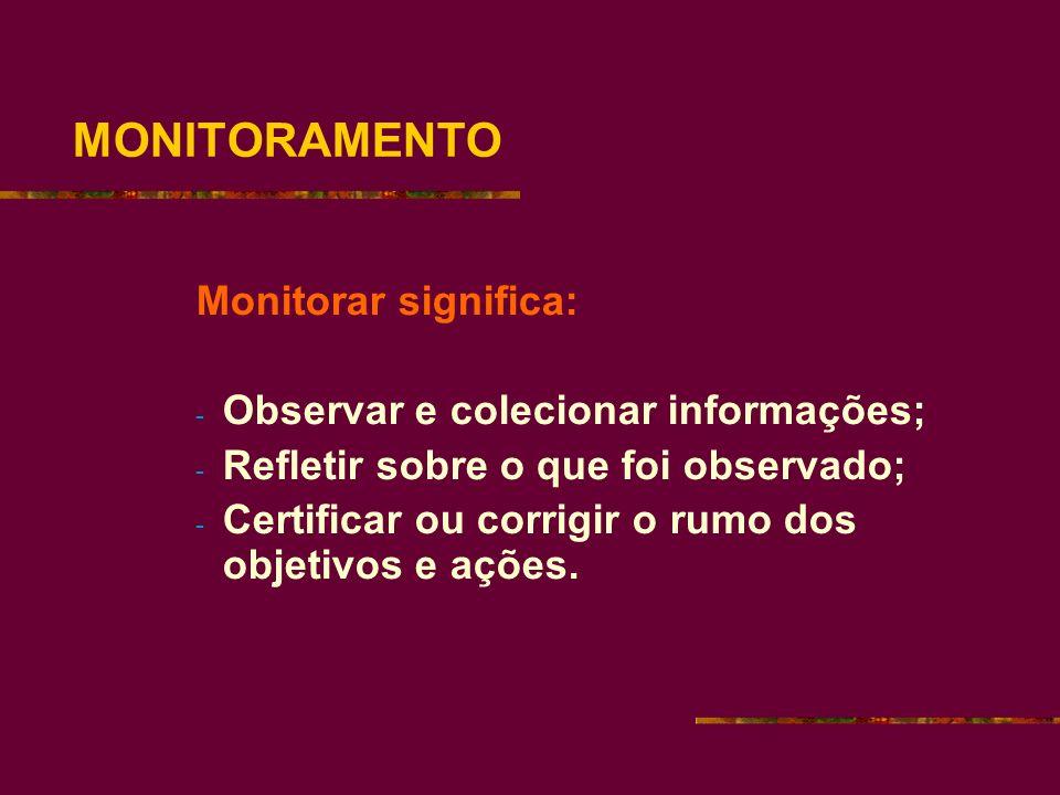 MONITORAMENTO Monitorar significa: - Observar e colecionar informações; - Refletir sobre o que foi observado; - Certificar ou corrigir o rumo dos objetivos e ações.