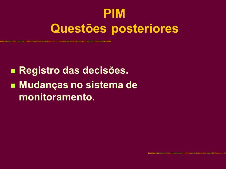 PIM Questões posteriores Registro das decisões. Mudanças no sistema de monitoramento.