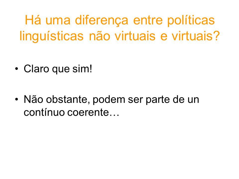 Há uma diferença entre políticas linguísticas não virtuais e virtuais? Claro que sim! Não obstante, podem ser parte de un contínuo coerente…