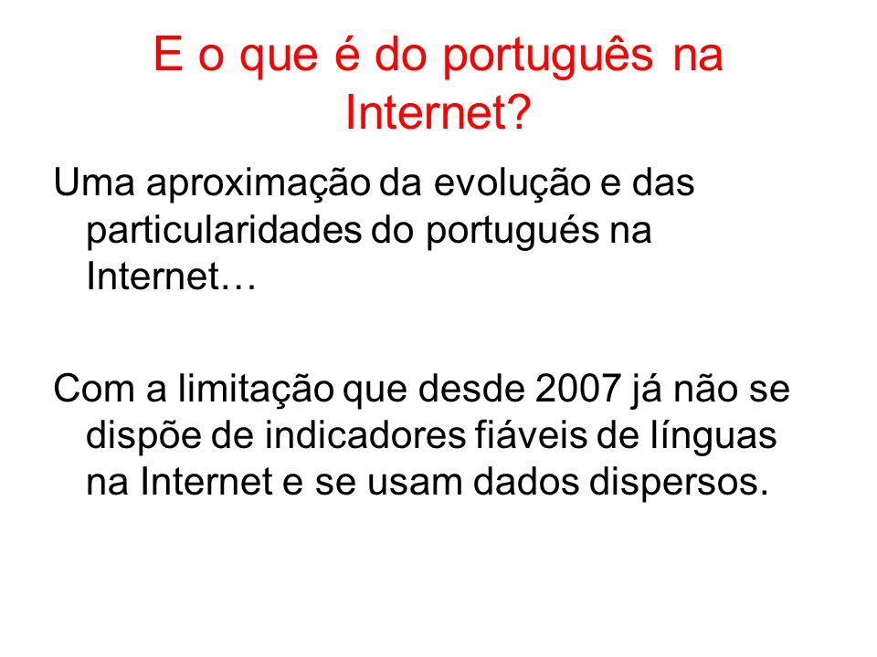 E o que é do português na Internet? Uma aproximação da evolução e das particularidades do portugués na Internet… Com a limitação que desde 2007 já não