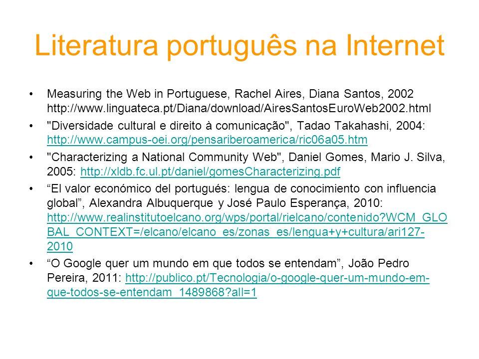 Literatura português na Internet Measuring the Web in Portuguese, Rachel Aires, Diana Santos, 2002 http://www.linguateca.pt/Diana/download/AiresSantos