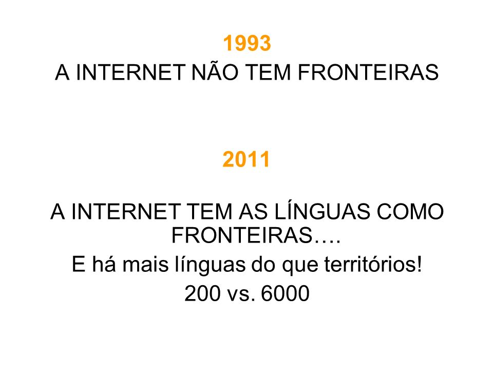PERÍODOEVENTOSLÍNGUASTAMANHO 1970-1980 PRE-HISTÓRIAINDÚSTRIA ARPANET COMPANHIAS INFORMATICAS Computadoras grandes INGLÊS A língua da informática CYCLADES 0 - 50K 1980-1990 GENESISINVESTIGAÇÃO BITNET/EARN UUCP OSI PC Cultura de rede MINITEL (90) = 9 M 50K - 2M 1990-1995 NASCE A WEBPROFESSIONAL CONVERGÊNCIA INTERNET (TCP-IP) ASCII MIME UNICODE INGLÉS = 80% 2M - 15M 1995-2005 WEB 1.0 GRANDE PÚBLICO WEB 1.0 ALTAVISTA MULTIPLICAÇÃO MOTORES & APLICAÇÕES DECLIVE RELATIVO INGLÊS 50% LÍNGUAS OCIDENTAIS 15M - 1G RESEÑA HISTÓRICA CIBERESPAÇO E LÍNGUAS 1/2