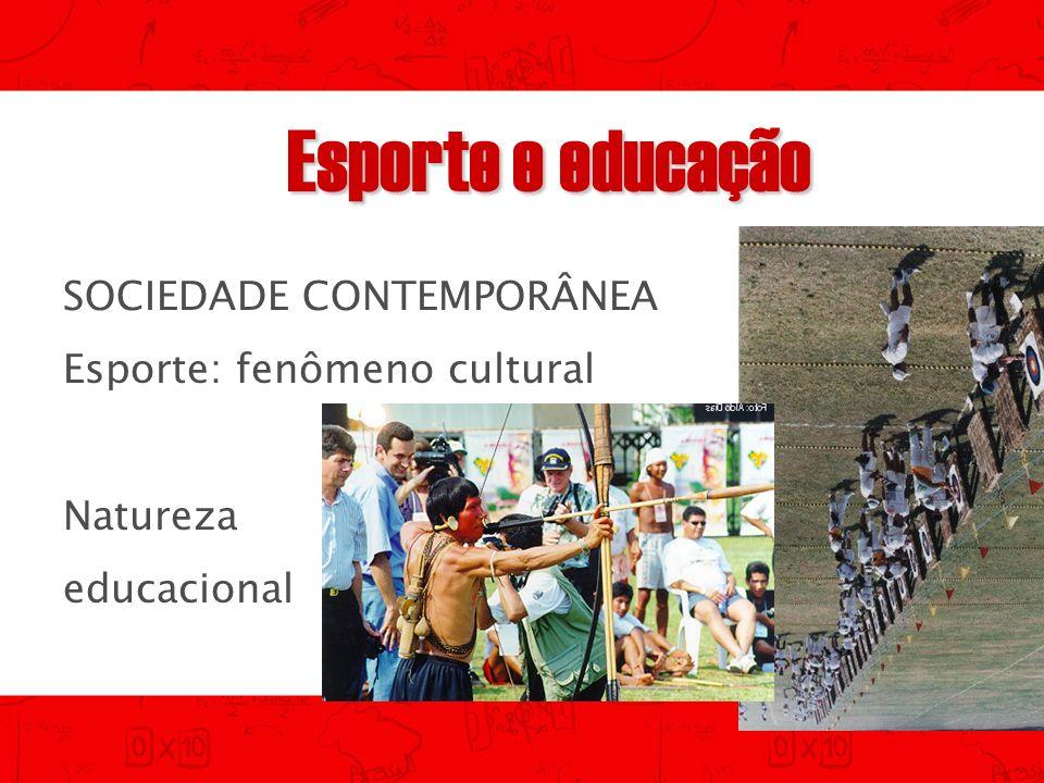 Esporte e educação SOCIEDADE CONTEMPORÂNEA Esporte: fenômeno cultural Natureza educacional
