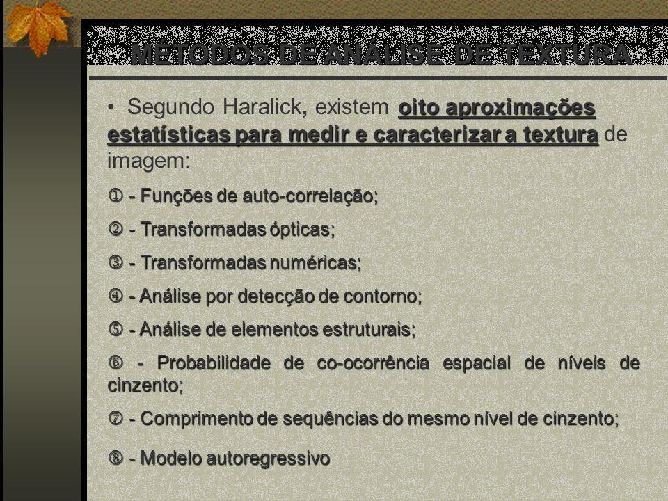 MÉTODOS DE ANÁLISE DE TEXTURA MÉTODOS DE ANÁLISE DE TEXTURA oito aproximações estatísticas para medir e caracterizar a textura Segundo Haralick, exist
