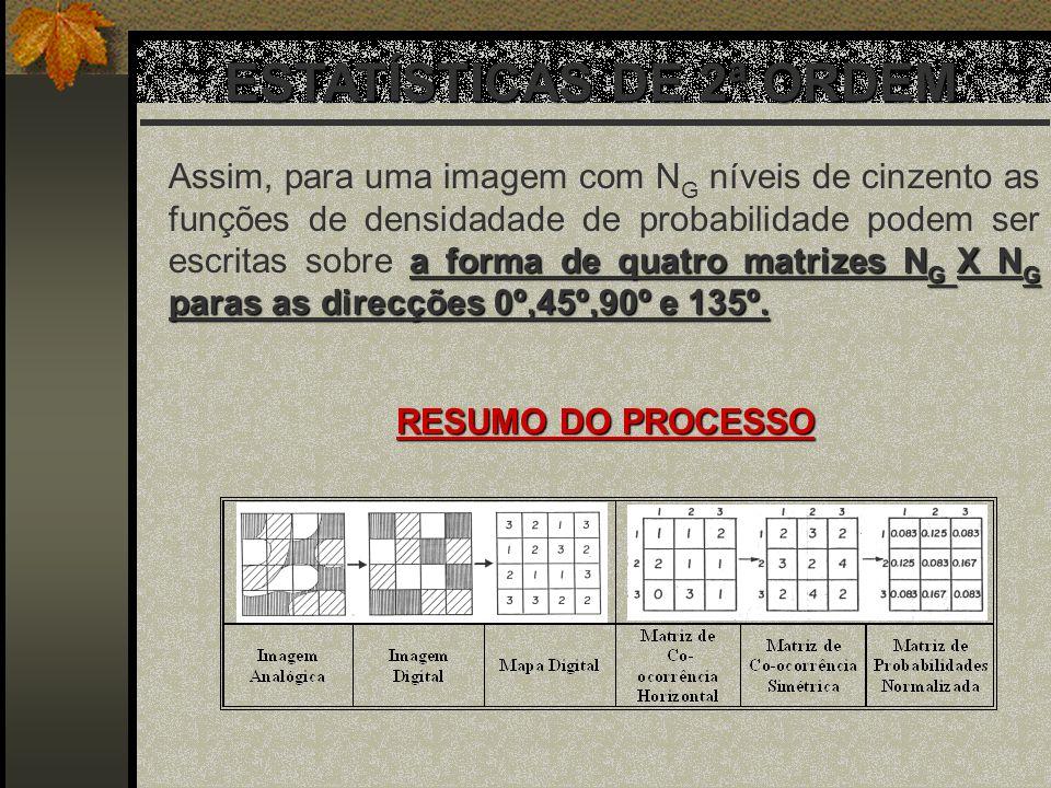 ESTATÍSTICAS DE 2ª ORDEM a forma de quatro matrizes N G X N G paras as direcções 0º,45º,90º e 135º. Assim, para uma imagem com N G níveis de cinzento