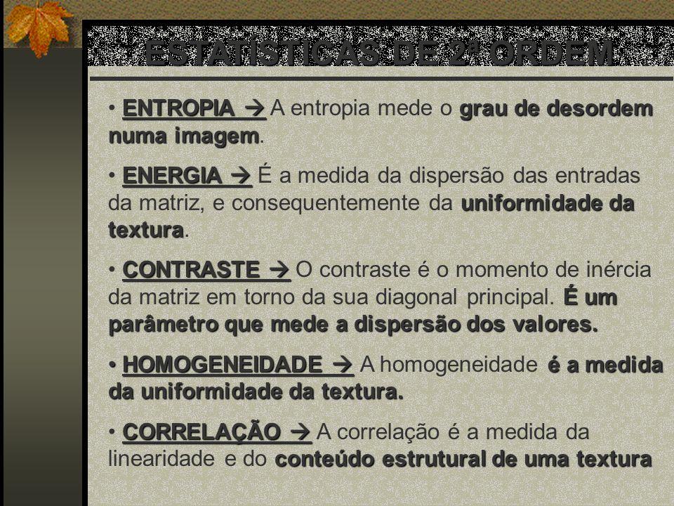 ENTROPIA grau de desordem numa imagem ENTROPIA A entropia mede o grau de desordem numa imagem. ENERGIA uniformidade da textura ENERGIA É a medida da d