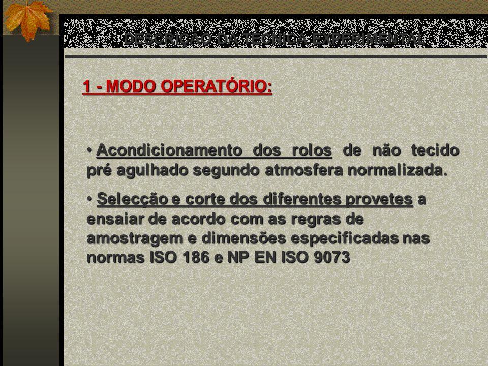 DESCRIÇÃO DA TÉCNICA EXPERIMENTAL 1 - MODO OPERATÓRIO: Acondicionamento dos rolos de não tecido pré agulhado segundo atmosfera normalizada. Acondicion