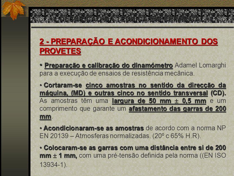 DESCRIÇÃO DA TÉCNICA EXPERIMENTAL 2 - PREPARAÇÃO E ACONDICIONAMENTO DOS PROVETES Preparação e calibração do dinamómetro Preparação e calibração do din