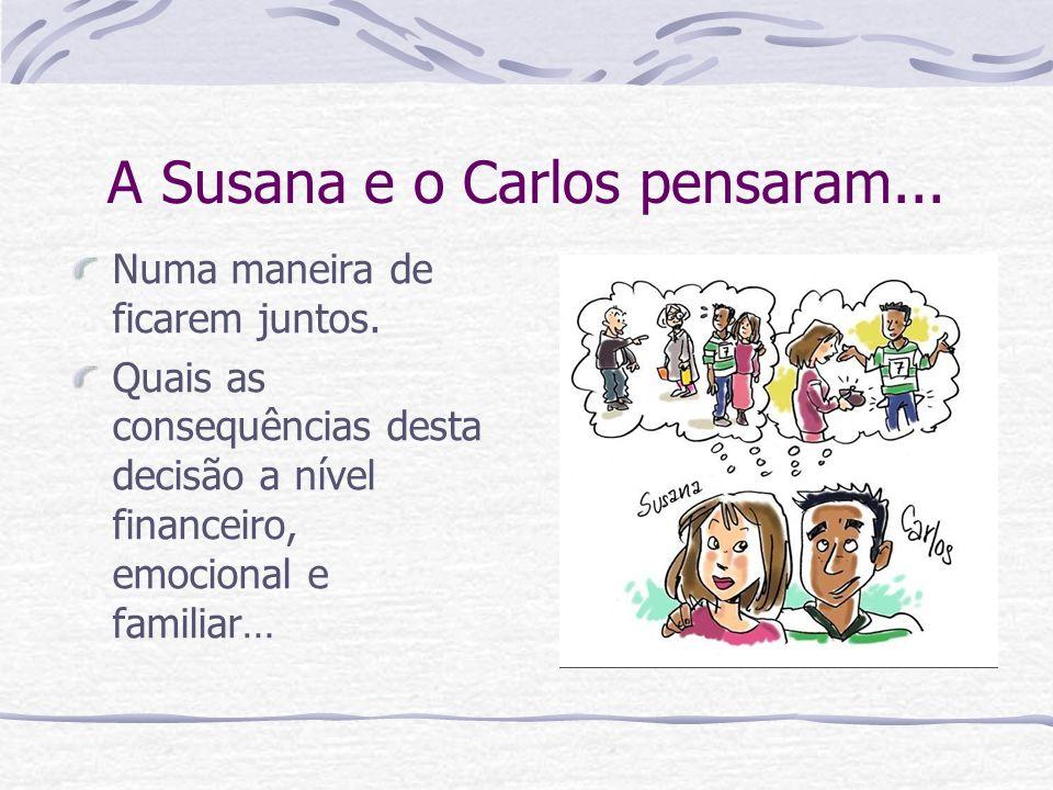 A Susana e o Carlos pensaram... Numa maneira de ficarem juntos. Quais as consequências desta decisão a nível financeiro, emocional e familiar…