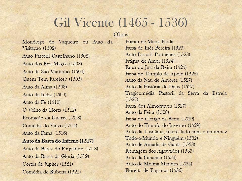 Gil Vicente (1465 - 1536) Monólogo do Vaqueiro ou Auto da Visitação (1502) Auto Pastoril Castelhano (1502) Auto dos Reis Magos (1503) Auto de São Martinho (1504) Quem Tem Farelos.