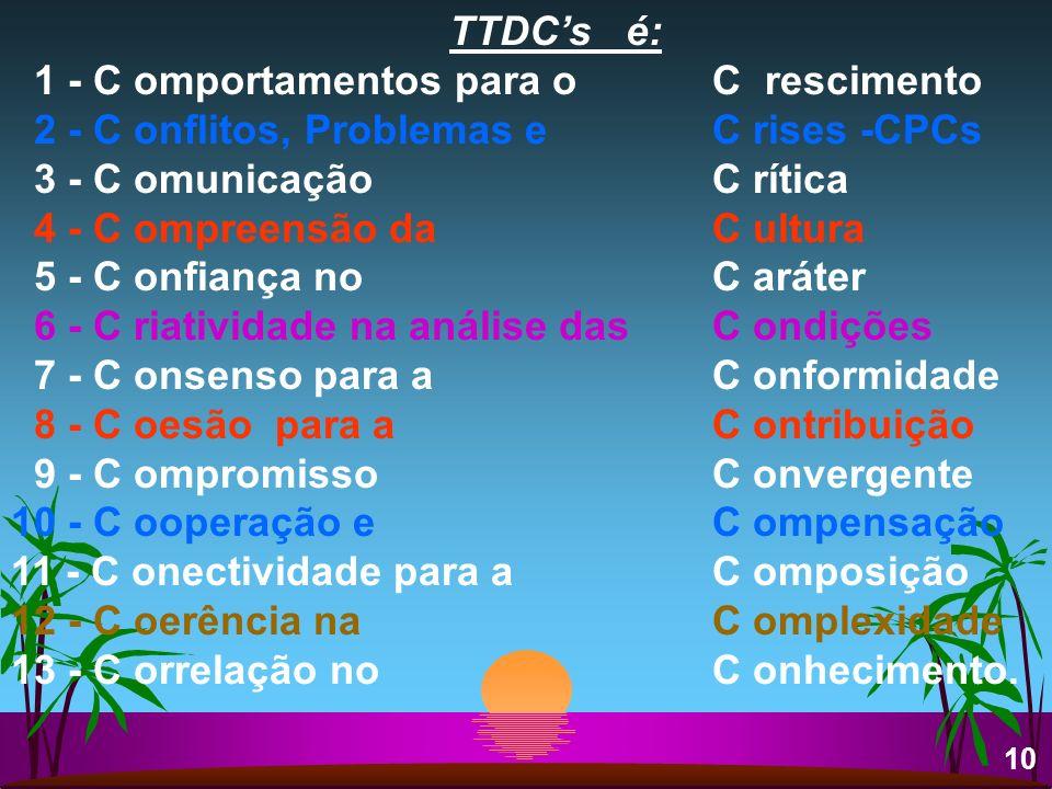 TTDCs é: 1 - C omportamentos para o C rescimento 2 - C onflitos, Problemas e C rises -CPCs 3 - C omunicação C rítica 4 - C ompreensão da C ultura 5 -