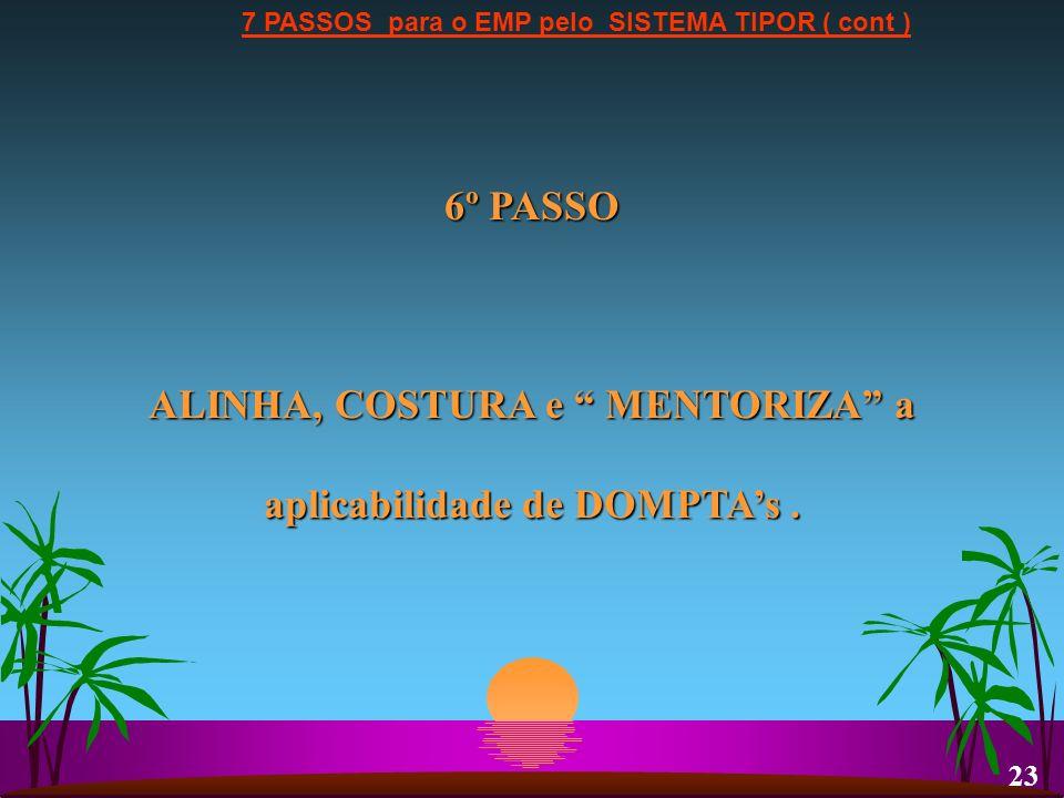 7 PASSOS para o EMP pelo SISTEMA TIPOR ( cont ) 6º PASSO ALINHA, COSTURA e MENTORIZA a aplicabilidade de DOMPTAs. 23