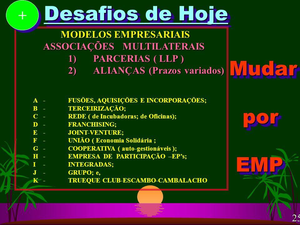 Desafios de Hoje MODELOS EMPRESARIAIS ASSOCIAÇÕES MULTILATERAIS MODELOS EMPRESARIAIS ASSOCIAÇÕES MULTILATERAIS 1)PARCERIAS ( LLP ) 2)ALIANÇAS (Prazos