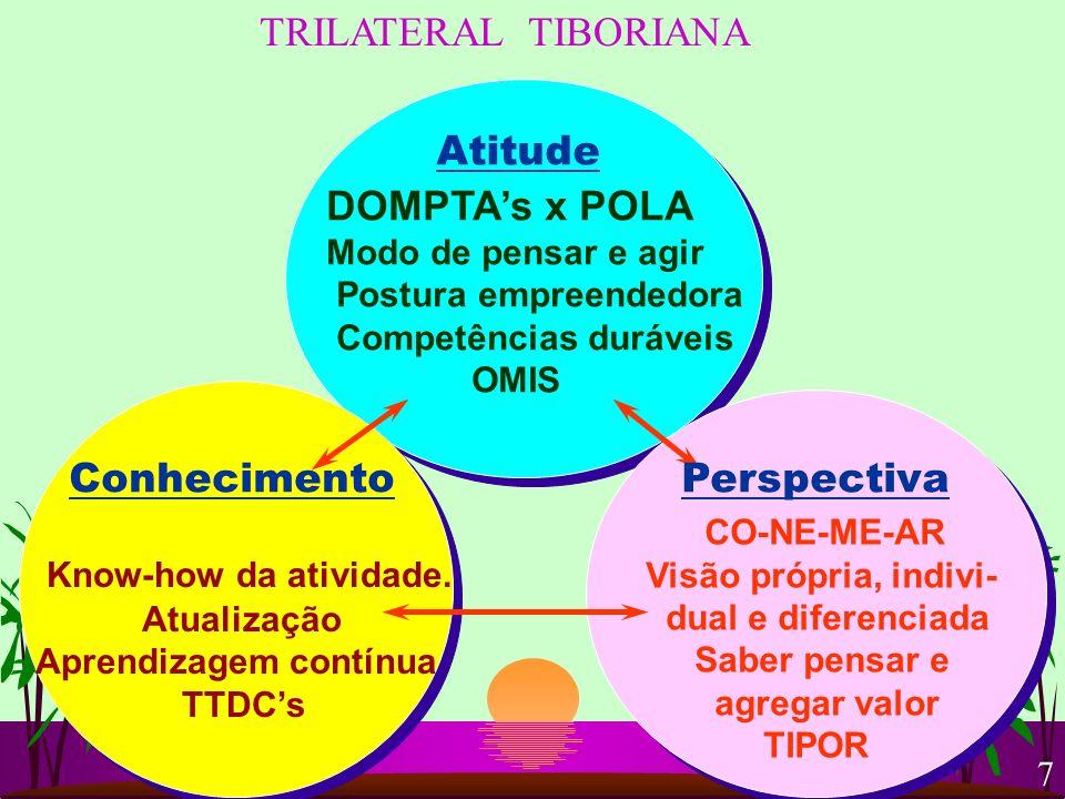 TRILATERAL TIBORIANA Atitude ConhecimentoPerspectiva DOMPTAs x POLA Modo de pensar e agir Postura empreendedora Competências duráveis OMIS Know-how da