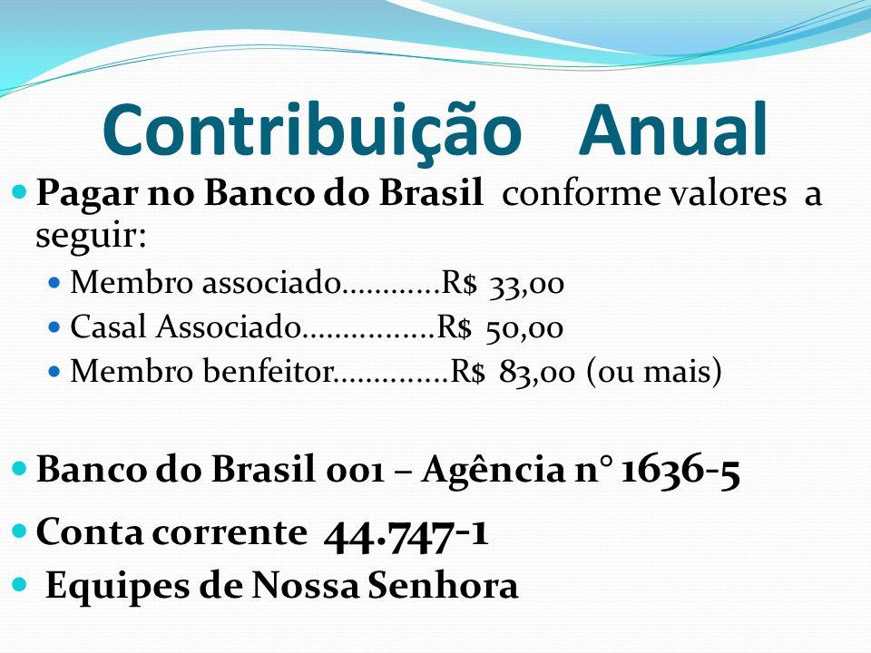 Contribuição Anual Pagar no Banco do Brasil conforme valores a seguir: Membro associado............R$ 33,00 Casal Associado................R$ 50,00 Me