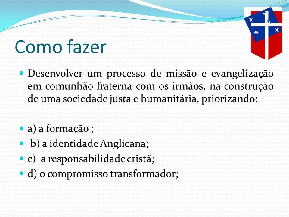 Como fazer Desenvolver um processo de missão e evangelização em comunhão fraterna com os irmãos, na construção de uma sociedade justa e humanitária, p