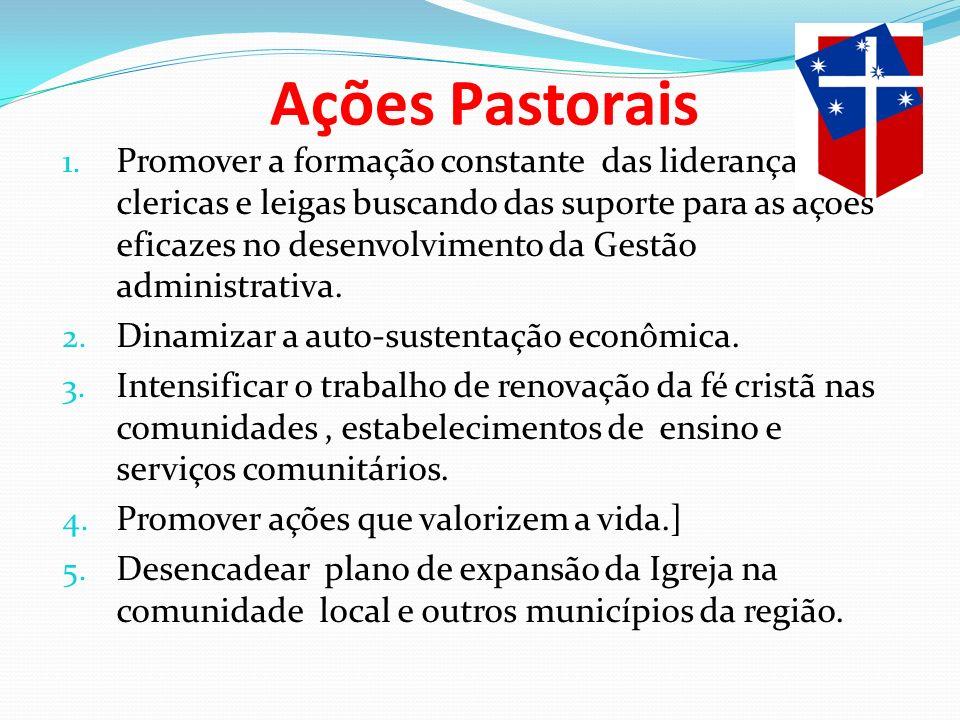 1. Promover a formação constante das lideranças clericas e leigas buscando das suporte para as ações eficazes no desenvolvimento da Gestão administrat